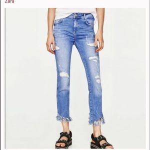 Zara crop skinny frayed hem jeans size 6